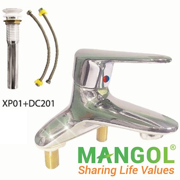 Bộ vòi chậu rửa nóng lạnh Mangol MG309 1